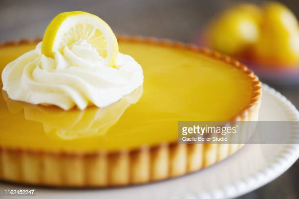 lemon tart with whipped cream and lemon slice - dessert photos et images de collection