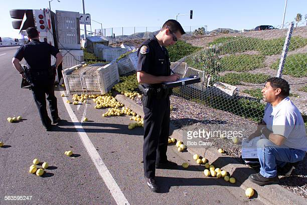 A lemon truck attempting a U–turn on Harbor Blvd at Seaward Ave in Ventura dumping lemons into the area between Harbor Blvd and the onramp from...