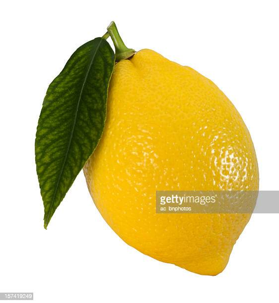 Lemon with leaf [clipping path]