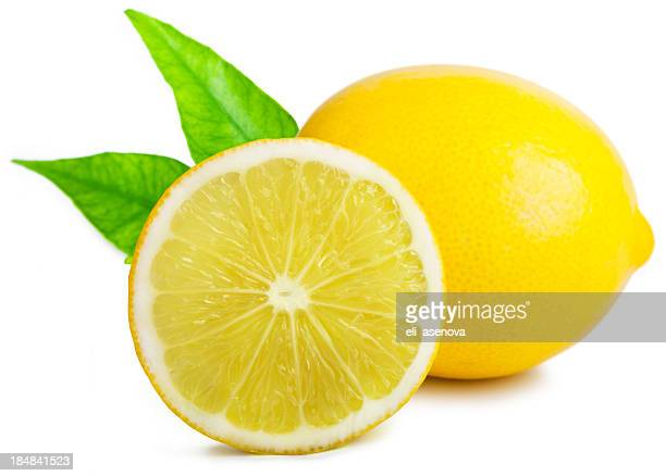 Lemon with leafs