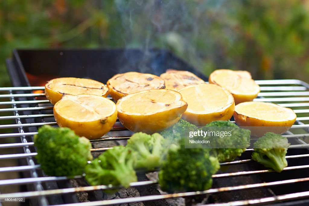 lemons, broccoli, grilled : Stock Photo