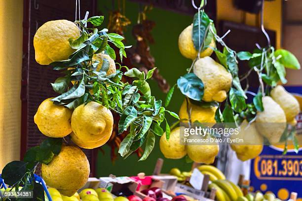 Lemons For Sale At Market Stall