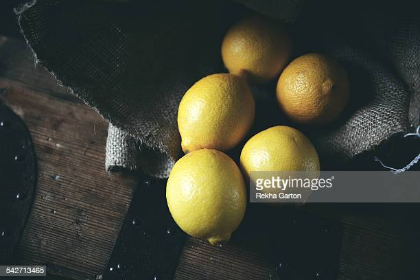 Lemons in a hessian sack
