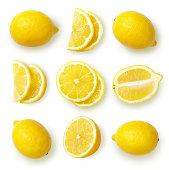 Lemons isolated on white background.