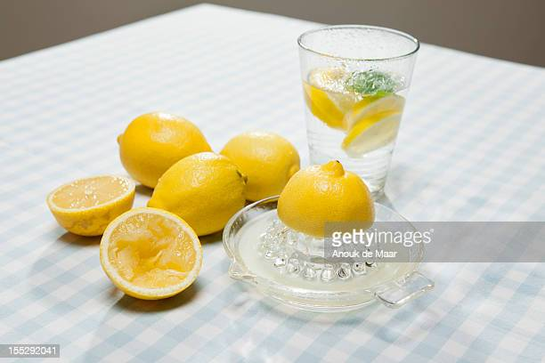 Lemons, juicer and glass of water