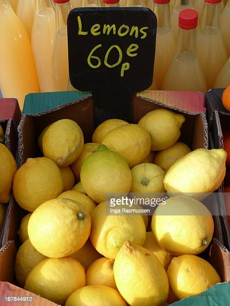 lemons on sale at london street market - number 60 stock photos and pictures