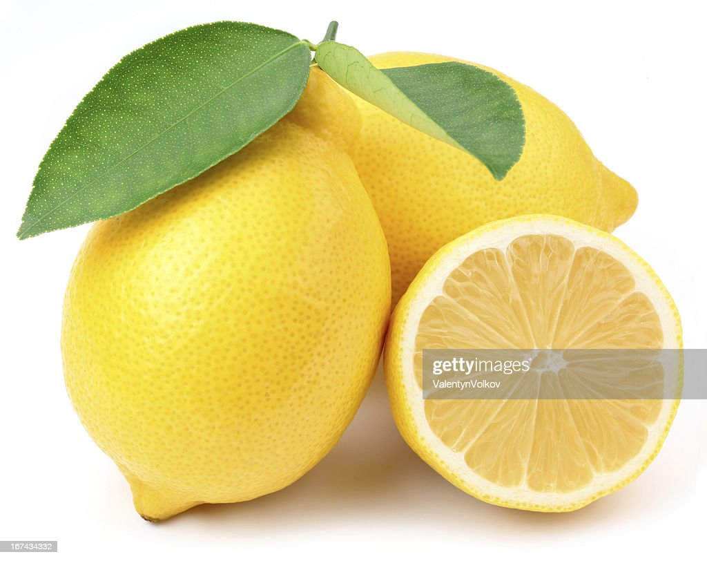 Limones con hojas. : Foto de stock