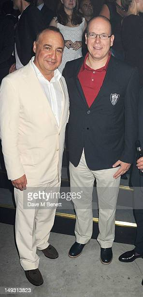 Len Blavatnik and Prince Albert of Monaco attend the Warner Music Group PreOlympics Party in the Southern Tanks Gallery at the Tate Modern on July 26...