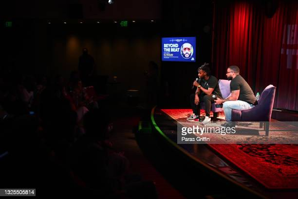 Len Brown and Billboard Hip-Hop Editor Carl Lamarre speak onstage during AudioMack Presents Beyond The Beat With DJ Khaled at The GRAMMY Museum on...
