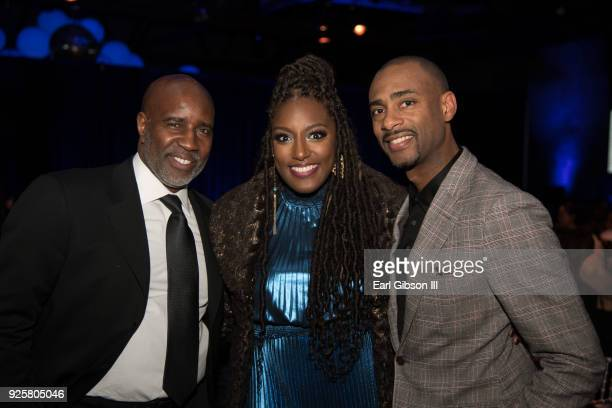 Len Burnett Stacey King and Charles King attend Uptown Honors Hollywood PreOscar Gala on February 28 2018 in Los Angeles California