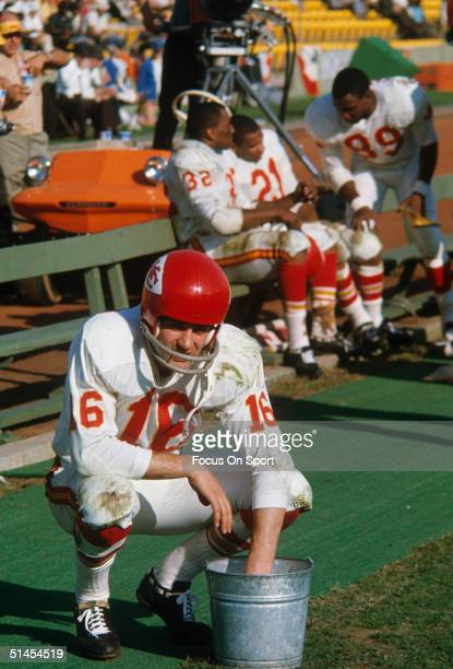Len Dawson of the Kansas City Chiefs during Super Bowl I against the Green Bay Packers at Memorial Coliseum on October 15 1967 in Los Angeles...