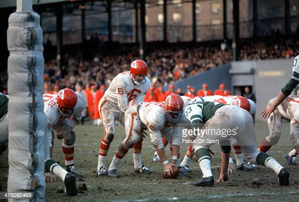Len Dawson of the Kansas City Chiefs in action against the New York Jets during an AFL Football game November 27 1966 at Shea Stadium in the Queens...