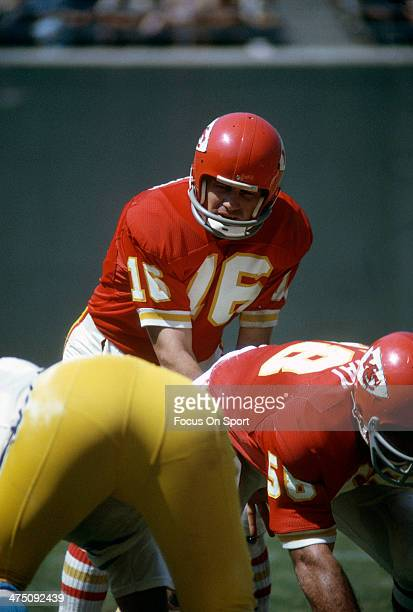 Len Dawson of the Kansas City Chiefs in action against the San Diego Chargers during an NFL Football game September 19 1971 at Jack Murphy Stadium in...