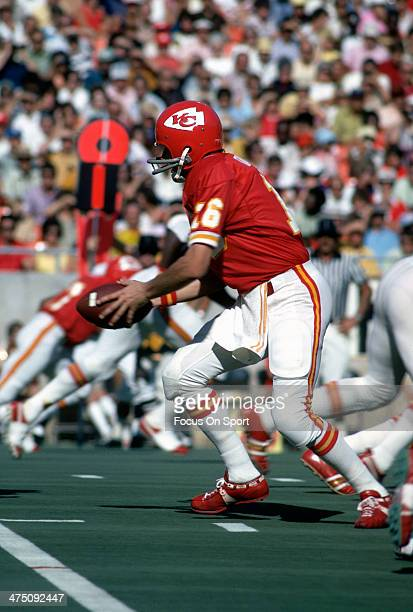 Len Dawson of the Kansas City Chiefs in action during an NFL Football game circa 1974 at Arrowhead Stadium in Kansas City Missouri Dawson played for...
