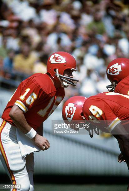 Len Dawson of the Kansas City Chiefs in the huddle calling a play against the San Diego Chargers during an NFL Football game September 19 1971 at...