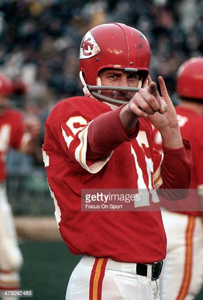 Len Dawson of the Kansas City Chiefs looks on during an AFL Football game circa 1969 at Kansas City Municipal Stadium in Kansas City Missouri Dawson...