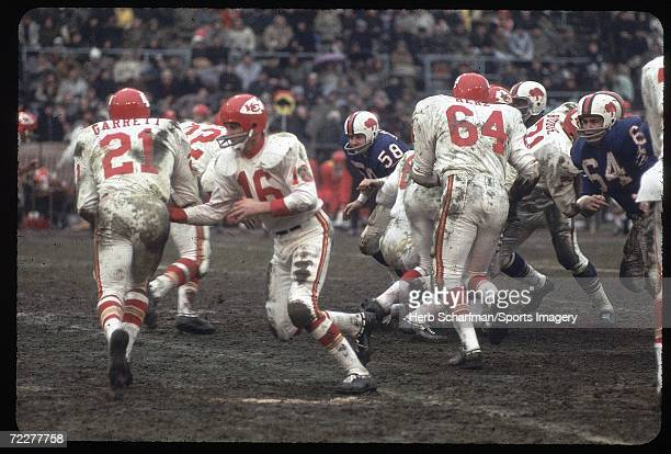 Len Dawson of the Kansas City Chiefs passing against the Buffalo Bills in the 1966 season AFL Championship Game on January 1, l967 in Buffalo Bills.