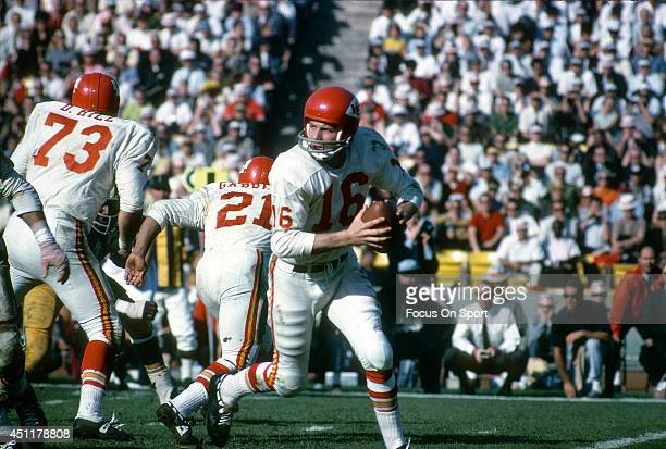 Len Dawson of the Kansas City Chiefs rolls out to pass against the Green Bay Packers during Super Bowl I January 15 1967 at the Los Angeles Coliseum...