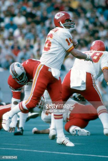 Len Dawson of the Kansas City Chiefs throws a pass against the New England Patriots during an NFL Football game September 23 1973 at Schaefer Stadium...
