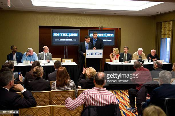 Len Elmore Digger Phelpss Dr Bruce Roth Mike Greenberg Mike Golic Erin Andrews Steven Andrews Bob Knight and Billy Packer attend the ON THE LINE...