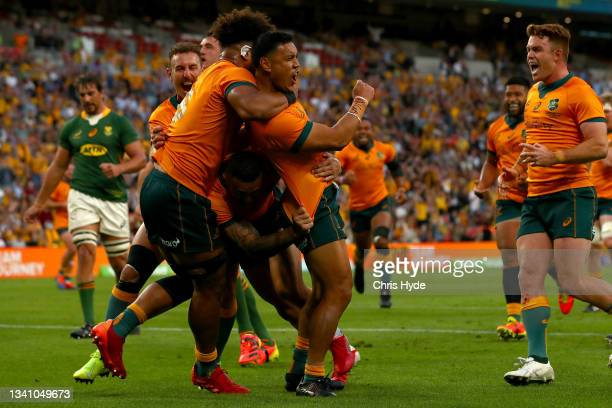 Len Ikitau of the Wallabies celebrates after scoring a try during The Rugby Championship match between the Australian Wallabies and the South Africa...