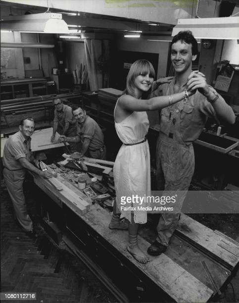 Len Latta Laurie Couchi and Gay Donoghue look on as Bruce Jones the Dance Star of carpenters 3rd floor gives Debbie Lane a twirl December 04 1981