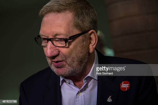 Len McCluskey General Secretary of Unite speaks to journalists at a Jeremy Corbyn campaign event at the Rock Tower on September 19 2015 in London...