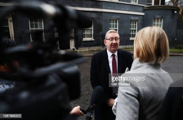 Len McCluskey, General Secretary of Unite the Union is interviewed by BBC News Political Editor Laura Kuenssberg outside 10 Downing Street following...
