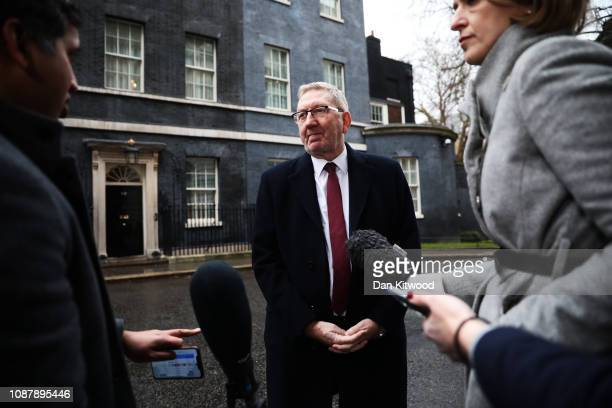 Len McCluskey, General Secretary of Unite the Union is interviewed by media outside 10 Downing Street following his talks with UK Prime Minister...