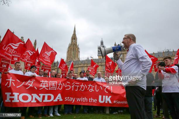 Len McCluskey General Secretary of Unite the Union is seen speaking on a megaphone during the protest Hundreds of Honda car workers protest outside...