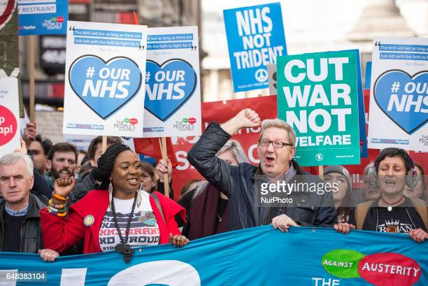 Len McCluskey General Secretary of Unite the Union marching with quotIt's our NHSquot National Demonstration to defend the NHS London 4th March 2017