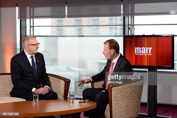 Len McCluskey leader of the trade union Unite is interviewed by Andrew Marr on his BBC1 current affairs programme at Media City before the start of...