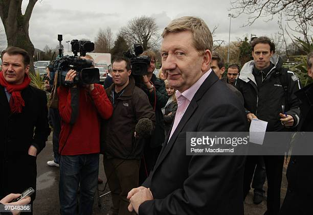 Len McCluskey the Assistant General Secretary of the Unite union talks to reporters after British Airways cabin crew staff met at Kempton Park...