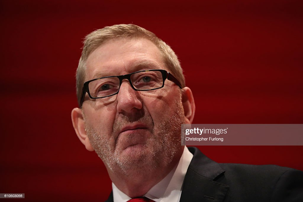 Len McCluskey, the General Secretary of Unite, addresses delegates on day two of the Labour party conference on September 26, 2016 in Liverpool, England. Shadow Chancellor John McDonnell has stated that if in power a Labour government would create a 'manufacturing renaissance'. Labour would also support traditional manufacturing and industry with government 'intervention' if needed. Mr McDonnell has also rejected claims that the party is anti-enterprise.