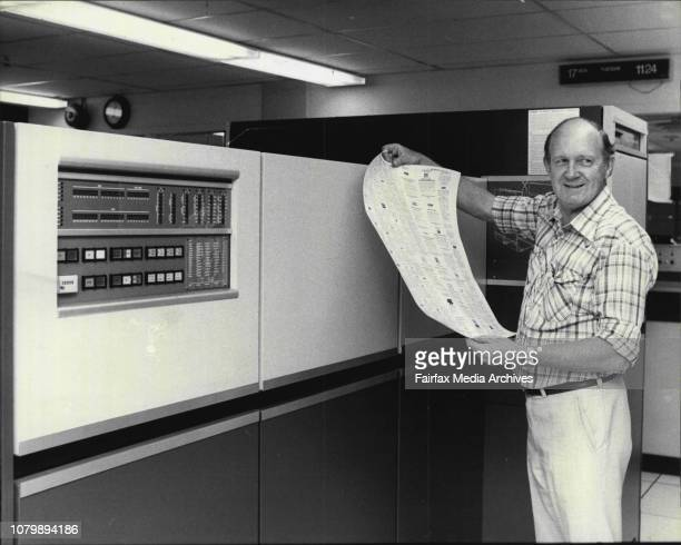 Len Mcdermott of photo comps is seen with a Digiset on the 4th floor November 17 1981