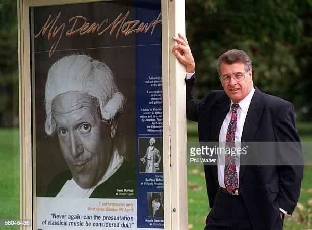 Len van der Harst General Manager of Adshel NZ Ltd with a busstop billboard on Fanshaw St