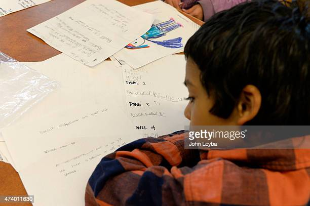 Len Williams works on his comic book story board May 18, 2015 at Fairview elementary. Jay Peteranetz, who has been a familiar presence in the Pop...