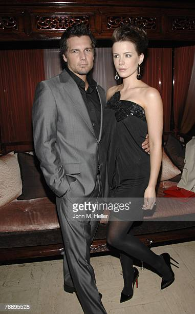 Len Wiseman and Kate Beckinsale attend Columbus Short's Birthday Party at Crustacean on September 19 2007 in Beverly Hills California