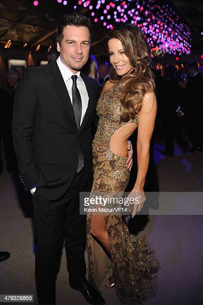 Len Wiseman and Kate Beckinsale attend the 2014 Vanity Fair Oscar Party Hosted By Graydon Carter on March 2 2014 in West Hollywood California