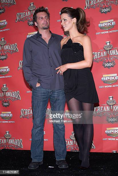 Len Wiseman and Kate Beckinsale during Spike TV's 'Scream Awards 2006' Press Room at Pantages Theater in Hollywood California United States