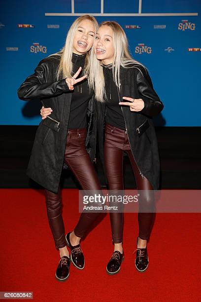 Lena and Lisa attend the European premiere of 'Sing' at Cinedom on November 27 2016 in Cologne Germany