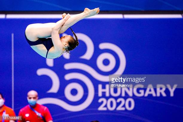 Lena Corona Hentschel of Germany competing at the Team Event Preliminary during the LEN European Aquatics Championships 1m Springboard Preliminary at...