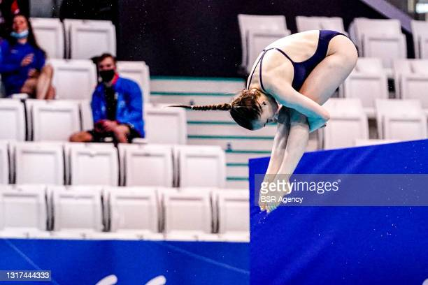 Lena Corona Hentschel of Germany competing at the Team Event Final during the LEN European Aquatics Championships 1m Springboard Preliminary at Duna...