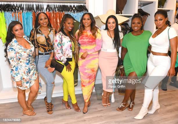 Lena Danielle, Monyetta Shaw, Kandi Burruss, Carmon Cambrice, Jennifer Drake, Tobey Sanders, and Latasha Wright attend Saweetie x Matte Collection...