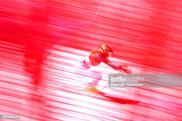 Lena Duerr of Germany competes during the Alpine Team Event on day 15 of the PyeongChang 2018 Winter Olympic Games at Yongpyong Alpine Centre on...