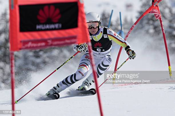 Lena Duerr of Germany in action during the Audi FIS Alpine Ski World Cup Team Parallel Slalom on March 19, 2021 in Lenzerheide, Switzerland.
