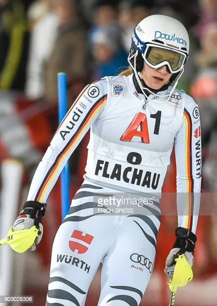 Lena Duerr of Germany reacts during first run of the FIS World Cup Ladies night Slalom race in FlachauAustria on January 9 2018 / AFP PHOTO / APA AND...
