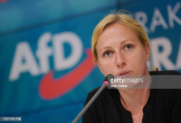 Lena Duggen a member of the rightwing Alternative for Germany political party in the Brandenburg state parliament speaks to the media at the...