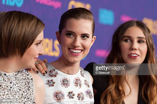 "Lena Dunham, Allison Williams, and Zosia Mamet attend the ""Girls"" season three premiere at Jazz at Lincoln Center on January 6, 2014 in New York City."
