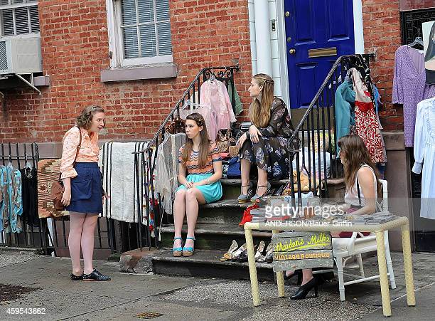 Lena Dunham, Allison Williams, Jemima Kirke and Zosia Mamet are seen filming the HBO series 'Girls' on May 25, 2012 in New York City.